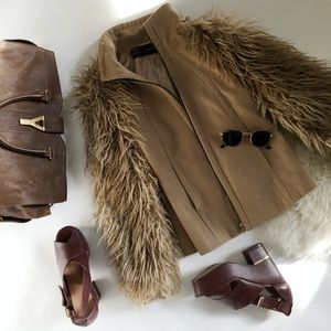 Camel Coat with Faux Fur Sleeves