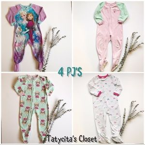 Other - Bundle 4-Pack Fleece Footed Pajamas - 3T