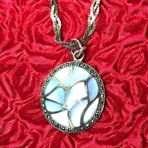 Jewelry - Sterling Shell & Marcasite Necklace