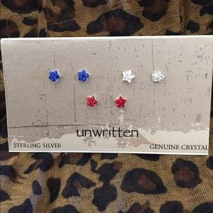 Jewelry - Bundle of three sterling silver crystals earrings