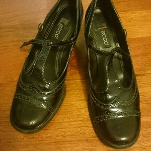 Ecco black T-strap brogue heels