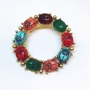 Beetle Brooch Pin Wreath🐞Scarab Lucite Cabochons