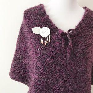 Beautiful Eggplant Purple Hand-Knit Poncho
