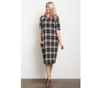 Dresses & Skirts - Stacy Plaid Midi Dress - White