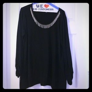 Avenue Black Sweater with necklace accent