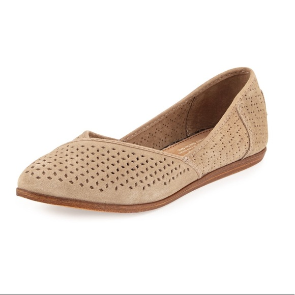 88ba51e9640 TOMS Jutti Perforated Suede Flat - Taupe. M 59f4f0c9c6c795ecd102906b. Other  Shoes you may like. Toms Classics Silver Crochet Glitter Flats