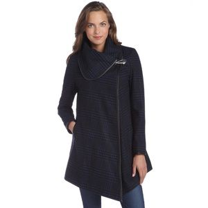Plaid Wool Blend Oversize Collar Poncho Coat