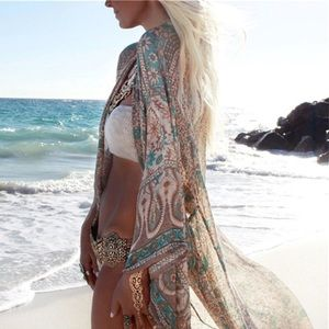 Other - Hawaiian Style Kimono Summer Blouse Swim Coverup