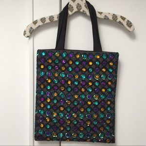 Anthro Gemstones and Beaded Flat Tote Bag