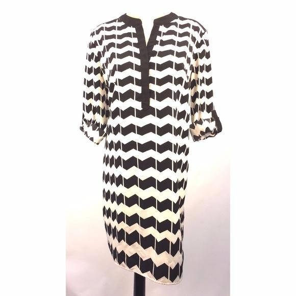d5bc2b9f7 Crown & Ivy Dresses | Crown Ivy Sz 12 Dress Black White Chevron ...