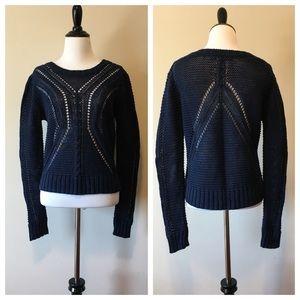 360 Sweater in Navy Blue Open Weave