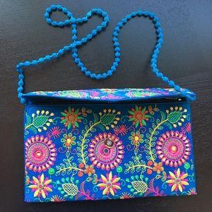 Handbags - Hand-embroidered boho-chic crossbody bag & clutch