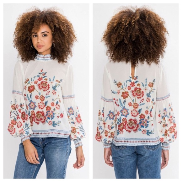 Mulberry & Grand High neck blouse, NWT!