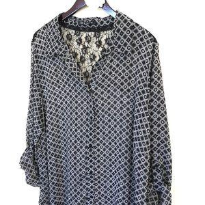 a0347c0ef62 Zac   Rachel Tops - Zac   Rachel plus size black white print blouse 3X
