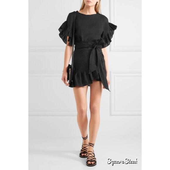 8afd9f4568 Isabel Marant Delicia black ruffle wrap dress