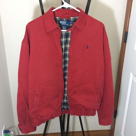 Harrington Size Lauren Polo Ralph Jacket Med Red FK1TJ3lc