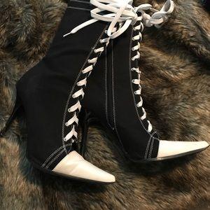 Black & White High Heel Sneaker Ankle Booties NWT