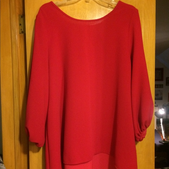 a21b6498933fb4 IC by Connie K Tops | Red Tunic Blouse Wbeautiful Bow Detail On Back ...
