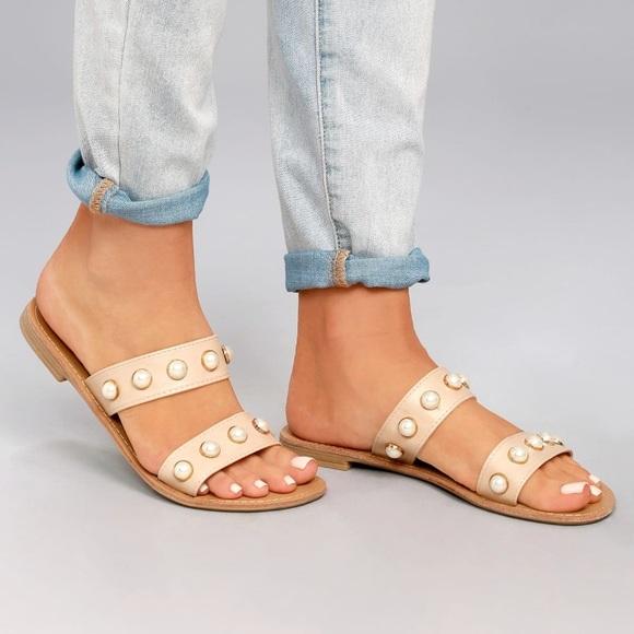 85947bf55ba29 Pearl nude slide sandals flat PEARLS EMBELISHED