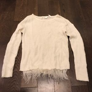 Design History Cream Sweater with Feather Trim