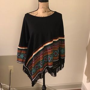 Globally inspired one-armed poncho - size small
