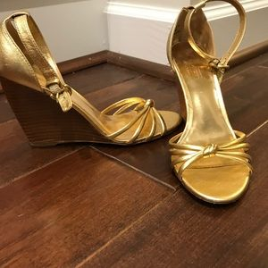 Coach Gold Wedge Ankle Strap Size 5