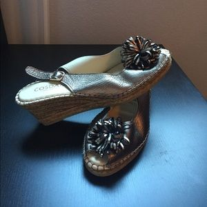 Bronze leather & wicker wedge sandals-from Spain!