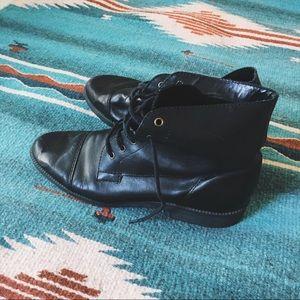 Vintage Black Lace Up Ankle Boots