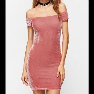 Dresses & Skirts - Soft Pink Off The Shoulders Velvet Dress