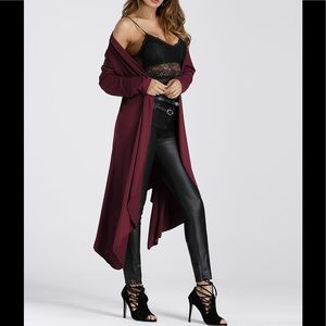 Jackets & Blazers - 🍁Burgandy Asymmetrical Cardigan 🍁