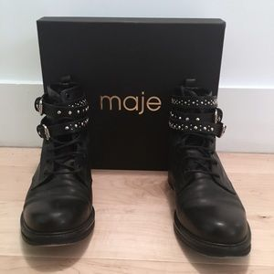 Maje Flint Leather Boots with Box