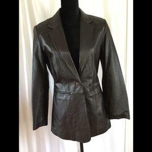 Dark Brown Leather Blazer