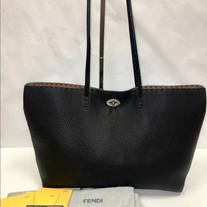 ♦️SOLD♦️FENDI Selleria Black Leather Medium Tote