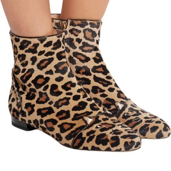 de8dd346a NWB Charlotte Olympia Leopard Kitty Puss in Boots