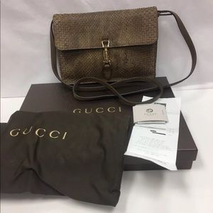 ♦️sold♦️GUCCI Brown Python Soft Jackie Convert