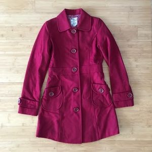 Tulle Cranberry Wool Walking Coat
