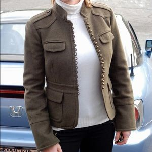 J Crew Army Green Wool Military Jacket