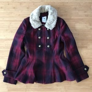Anthropologie Elevensies Plaid Peplum Wool Coat