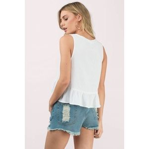 Lulu's Tops - White Deep V Ruffle Tank Top