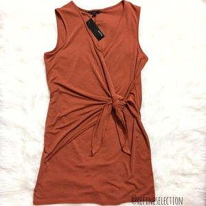 Anthropologie DREW Twist Front Knotted Rust Dress
