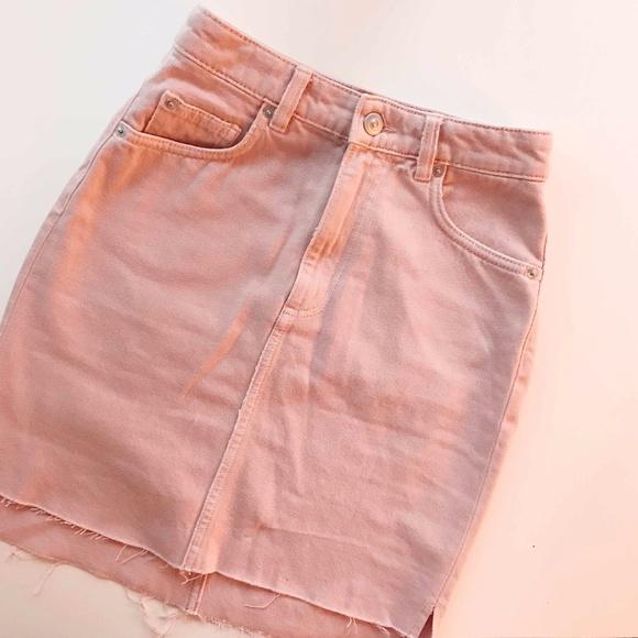 64a5e07343 H&M Skirts   Hm Pastel Pink Denim Skirt Size 2   Poshmark