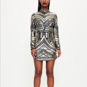 Black High Neck Embellished Bodycon Dress