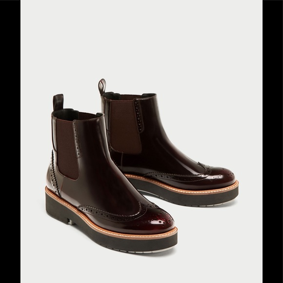 LADIES ZARA PULL ON ANKLE BOOTS BURGUNDY/BLUE SIZE 38 5