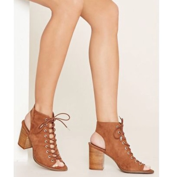 Forever 2 Faux Suede Lace Up Booties