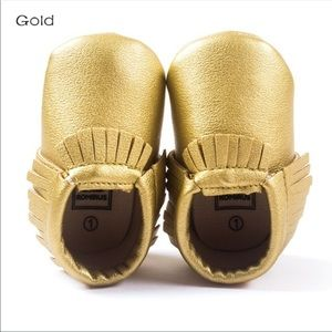 Other - Brand New Gold Leather Baby Moccasins