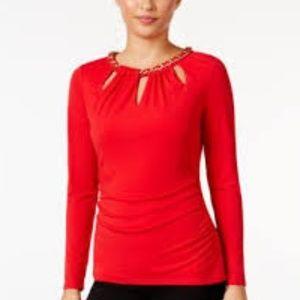 Thalia Sodi Chain Trim Cutout Top Size M