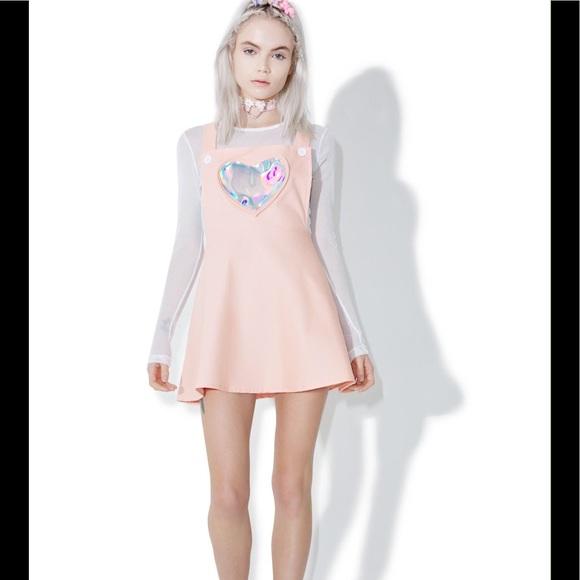 f4ff58870a8 Dolls Kill Dresses   Skirts - Dolls Kill Hologram Heart Pink Overall Skirt  Dress
