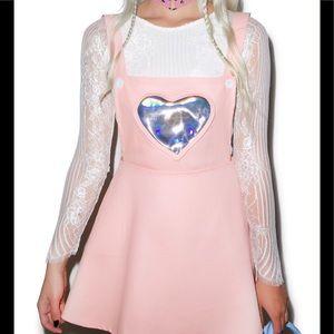 8fc64fa0dff Dolls Kill Dresses - Dolls Kill Hologram Heart Pink Overall Skirt Dress