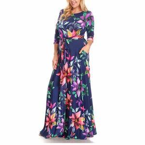 Dresses & Skirts - Plus Floral Boho Maxi Dress Navy Blue Pink Purple