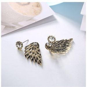 Jewelry - Angel Wing CZ Diamond Stud Gold Tone Earrings